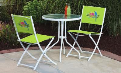 "Set Includes: 4 FOLDING CHAIRS 34""W x 21""D x 17""H GLASS- TOP TABLE 33""W x 40""L x 28""H 6' PUSH-UP UMBRELLA MARGARITAVILLE FOLDING CHAIR This vibrant chair reclines to four"