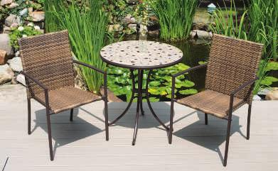 "7""H TABLE 28"" Diameter x 28""H Santa Fe Wicker SANTA FE BAR SET Dine in high style with this balcony height resin wicker table and bar chairs."