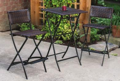 "Bar Set Includes: 2 CHAIRS 18""W x 25""D x 41""H TABLE 24"" Square x 40."