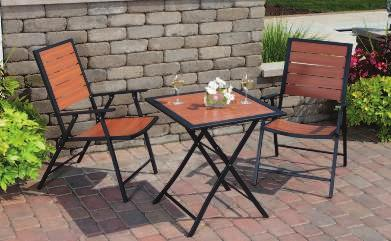 "Bistro Set Includes: 2 CHAIRS 22.26""W x 26.4""D x 37.4""H TABLE 25.22"" Square x 27."