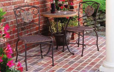 WINDSOR BISTRO SET Made of cast aluminum, the durable Windsor bistro set will not rust. Two chairs and a bistro table are included in a brushed bronze finish. 800970 $189.99 3-Pc.