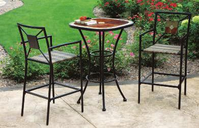 "5""H St. Clair Wicker Mosaic Tabletop ST. CLAIR BAR SET A balcony height table and chairs let you see the sights from an elevated position."