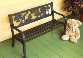"5""H VINE BENCH With ornate ivy in heavy cast iron caressing a powder coated steel frame, this bench"