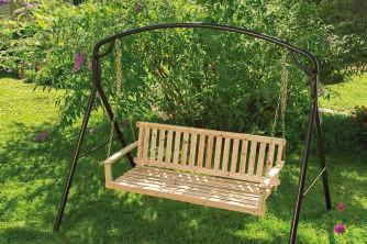 A. JENNINGS PORCH SWING Simple, unfinished hardwood creates a naturally beautiful atmosphere for quiet reflection.