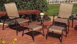 SLING CHAT SET Includes a glass-top table, 2 adjustable back sling armchairs 800313 $19.99 and 2 ottomans. Chair supports 250 lb.