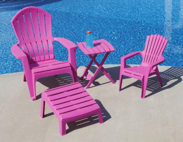 "WHITE DESERT CLAY LEMON YELLOW SUMMER GREEN RADIANT ORCHID CHERRY RED POOL BLUE BRIGHT VIOLET SAGE HUNTER GREEN EARTH BROWN A. ADIRONDACK CHAIR 32.5""W x 30""D x 37."
