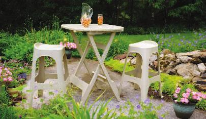 "Available in white, desert clay, or sage green. 806595 807096 806684 $49.99 38"" Diameter x 28.6""H STACKABLE SIDE TABLE Made of durable all-weather resin."