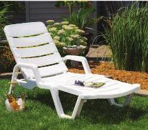"99 48"" Diameter x 29""H CHAISE LOUNGE Durable all-weather resin."