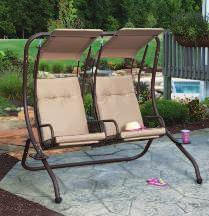 "Built with a weather-resistant polyester canopy and steel frame. Supports 200 lb. per seat. 821383 $189.99 67""W x 53.5""D x 67""H D."