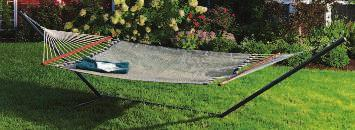 "Difficult to tear or puncture, retains color. Supports 350 lb. 817076 $139.99 Hammock 55""W x 82""L Overall Length 13' F."