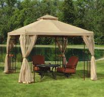 10' X 12' ALUMINUM GAZEBO Powder coated frame is draped in 180 gram polyester fabric. Includes netting. 800969 $389.99 10'W x 12'L x 12'H B.
