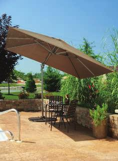 A. 10' ROUND STEEL OFFSET UMBRELLA Powder coated steel frame. 180 gram polyester fabric with air vent. One position. Tan. 8 ribs. 801215 $89.99 (Base sections sold separately.) A B.