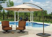10' ROUND ALUMINUM OFFSET UMBRELLA Base swivels 360. Trigger handle for ease of use. Powder coated aluminum frame for enhanced performance. 220 gram polyester fabric with air vent. Tan. 8 ribs.
