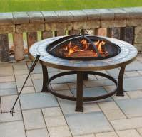 "34"" SLATE FIRE PIT Slate top with steel bowl and base."