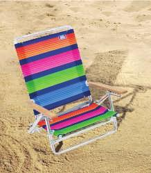 "EASY IN - EASY OUT BEACH CHAIR Sits 14"" off the ground. Wooden arms are cool to the touch in the scorching sun."