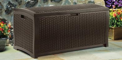 RESIN WICKER DECK BOX Stay-dry design is ideal for storing cushions, pool toys, or