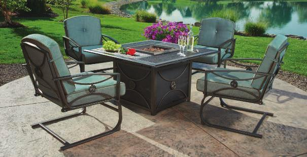 CHAMPLAIN CHAT SET Champlain Cushion Fabric A center table housing a gas fire pit is the centerpiece of this luxury Champlain set.