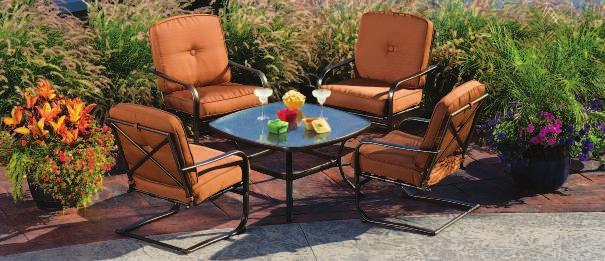 "Propane tank sold separately. 5-Pc. Set Includes: 4 CHAIRS 26""W x 30""D x 34""H FIRE TABLE 46"" Square x 25""H 801100 $1199."