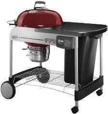 "22"" PERFORMER CHARCOAL GRILL 363 sq. in. total cooking area. Porcelain-enameled bowl and lid. Heavy-duty steel cart frame. Painted, metal fold-down table. Gourmet BBQ System hinged cooking grate."