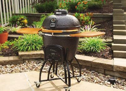 LARGE KAMADO CHARCOAL GRILL Two-tiered 596 sq. in. (total) stainless steel dual flip grates with handles for easy addition of charcoal.