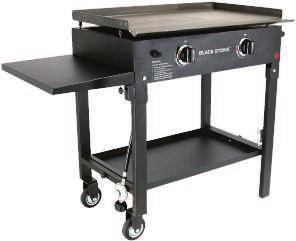 Features quick ignition button, thick rolled steel surface for excellent heat retention, easily removable griddle top, sturdy steel frame, and 2 commercial