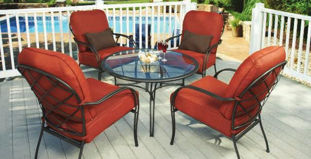 99 BRADFORD CHAT SET Bradford Cushion Fabric Bradford Pillow Fabric Scrolled arms and turned-style posts lend a refined look to your patio décor.