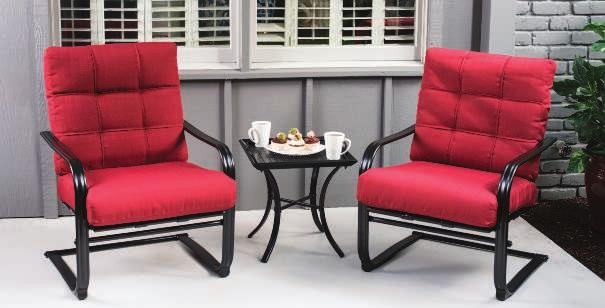 RIVIERA CHAT SET Riviera Cushion Fabric Brilliant red cushions with a square pattern back lay atop spring-motion chairs on
