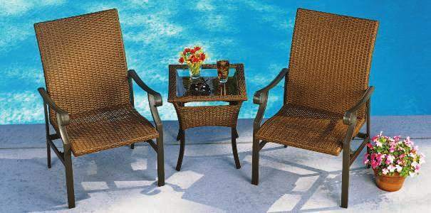 99 NAPLES CHAT SET Naples Wicker High-back seats feature a smooth rocking motion and wide flat arms with downward-curled