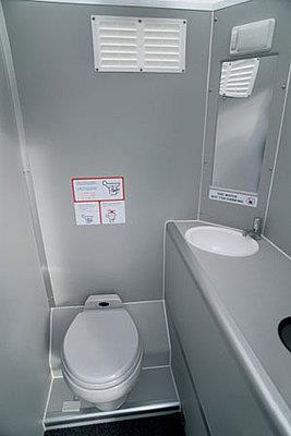 There will be a bathroom on the airplane. It will be smaller than your bathroom at home, so you might feel a little bit cramped if you need to use it.