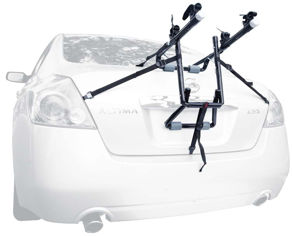 TRUNK MOUNTED 102DN DELUXE 2-BIKE TRUNK MOUNTED CARRIER 12 Long Carry Arms Easily Accommodate A Wide Range of Bicycle Styles. 11.5 Wide Carry Arms For Greater Bike Compatibility.