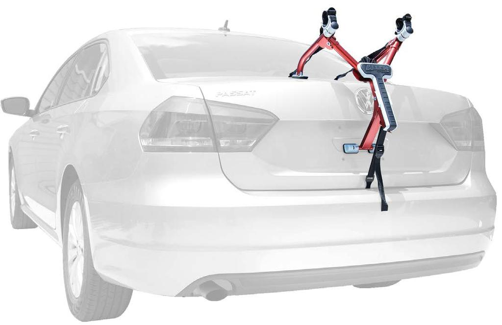 Padded Lower Frame Keeps Bicycle Away From Vehicle. Patented Design Fits Sedans, Hatchbacks, Minivans & SUV s. Comes Fully Assembled - Installs In Seconds. Includes Carry Bag.