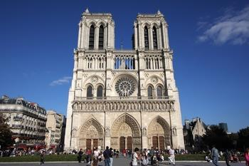 front of Notre Dame.