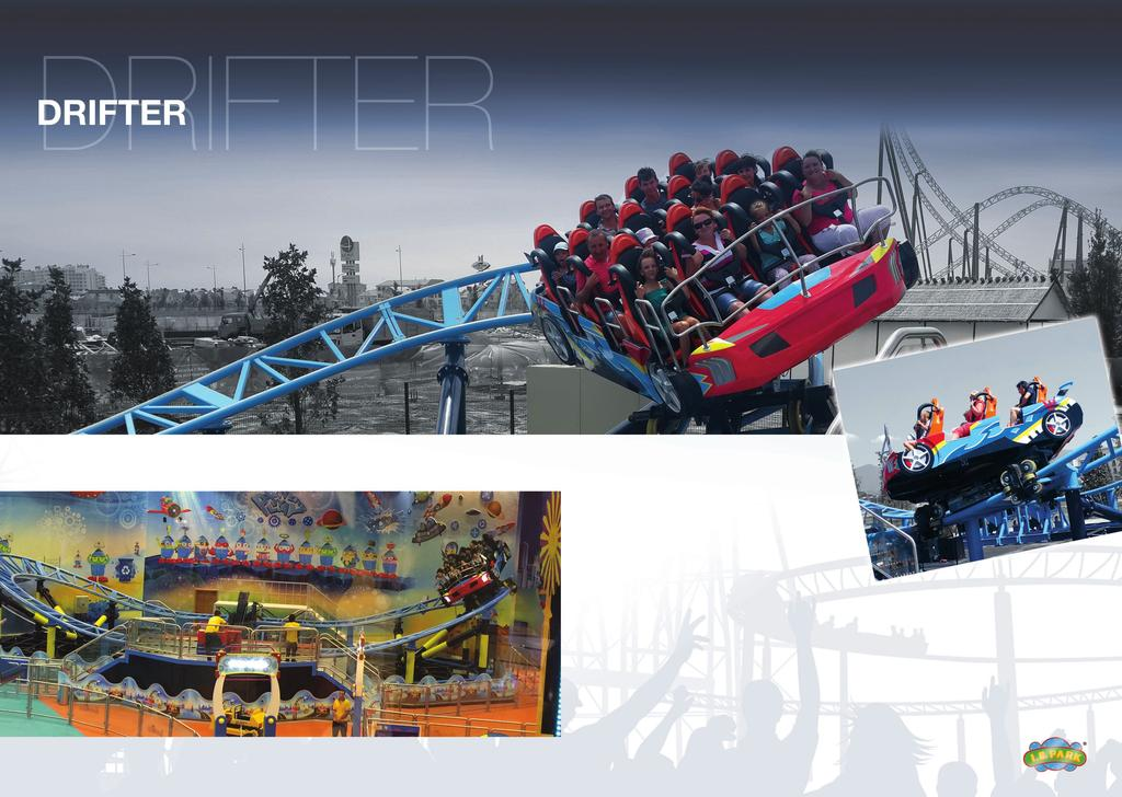 Drifter is a new product from IE PARK srl, a high thrill, compact roller coaster, powered by the ultimate technology of an LEM SYSTEM (Linear Eddy current Motorized drive).