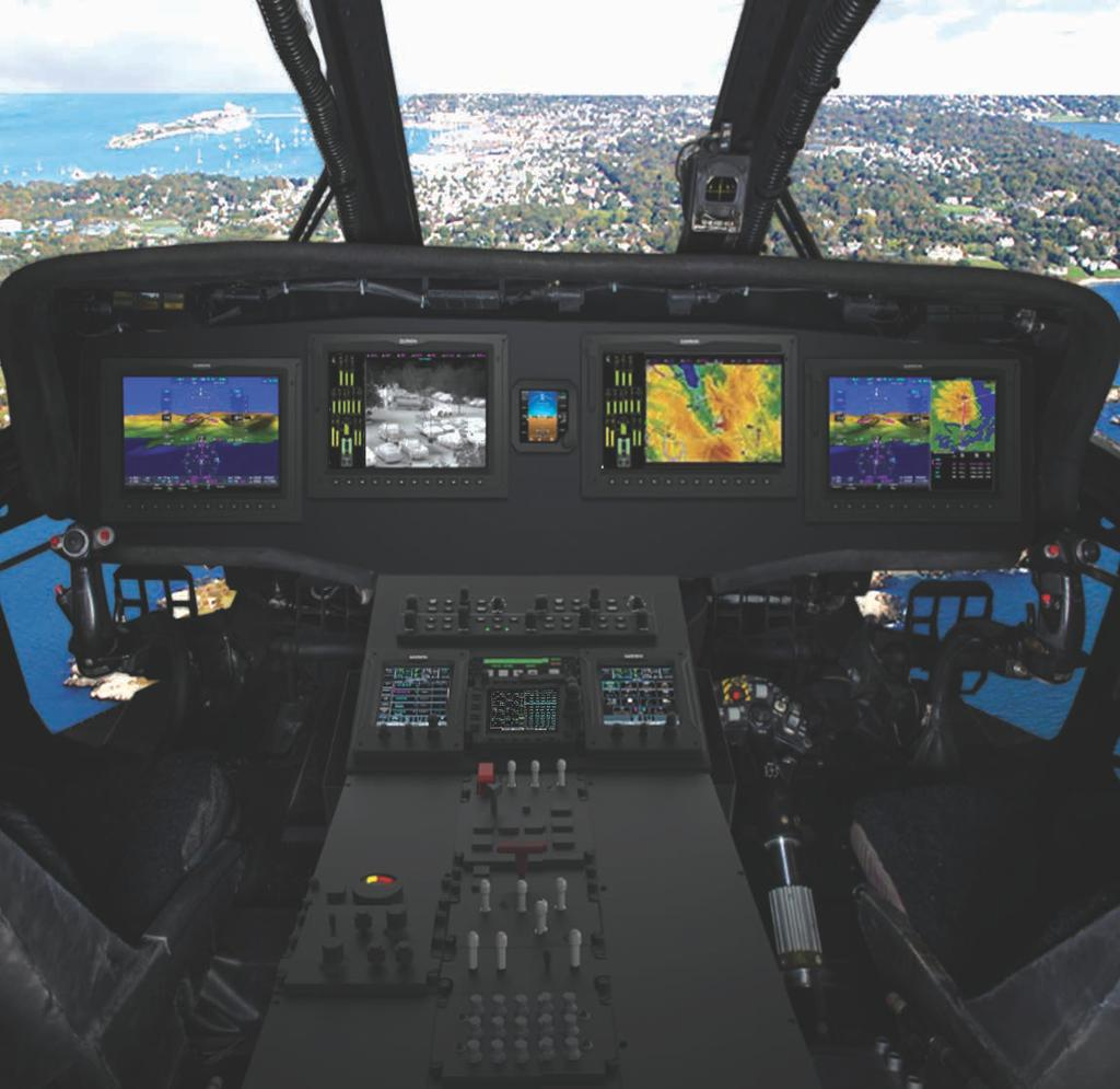 GARMIN G5000H INTEGRATED FLIGHT DECK FOR UH-60A ACEHAWK COCKPIT & ATTRIBUTES Civil Pedigree Tactical Agility NEXTGEN/Single European Sky Now Landscape Displays Multi-Pane Capable Touchscreen Control