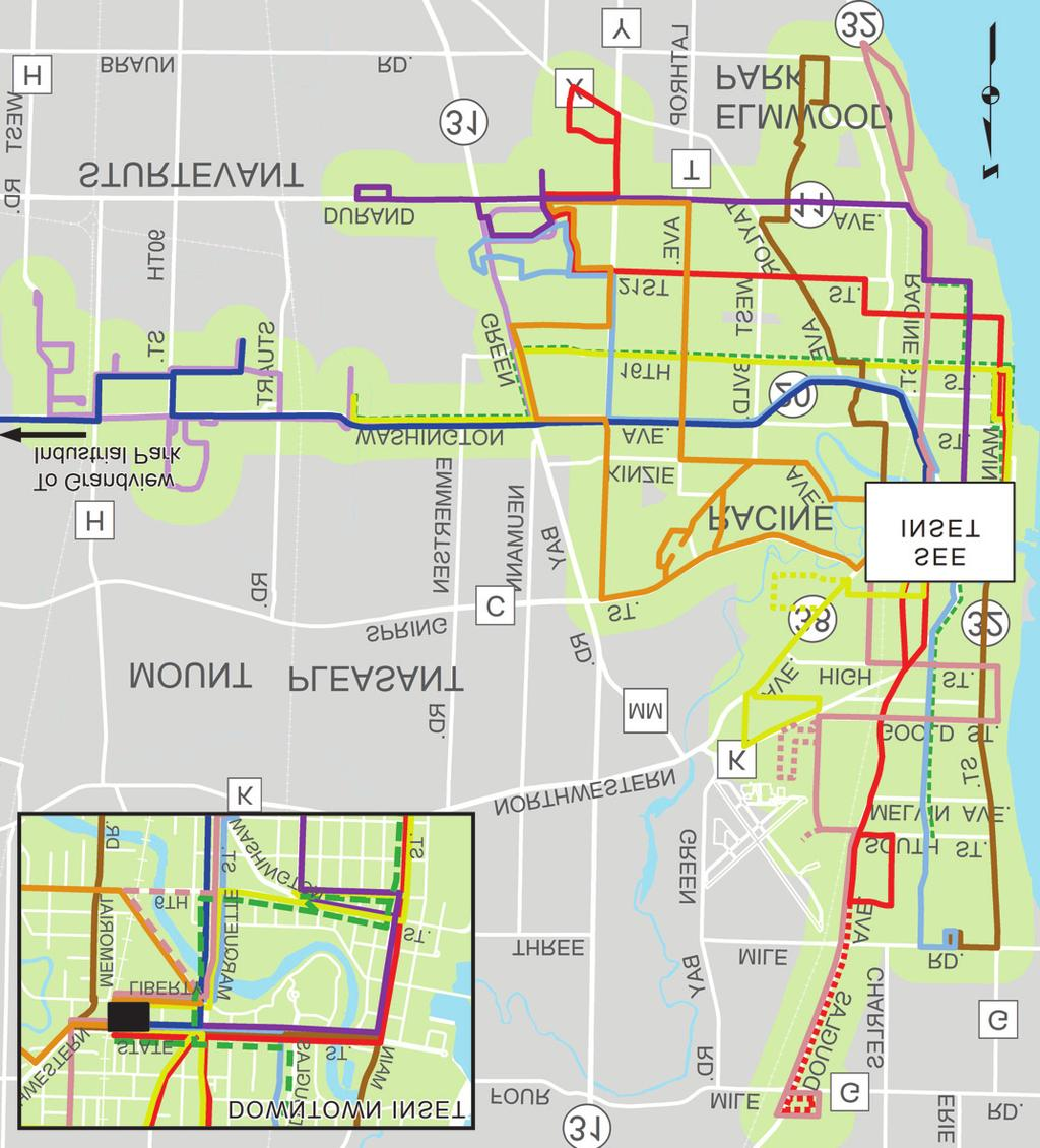 2 CITY OF RACINE RECOMMENDATIONS City Recommendation 1: Restructure the Routes of the Belle Urban System Map 1 shows the current Belle Urban System (BUS) routes.