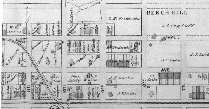 Figure 5 Excerpt of 1896 Map with 3044 West North Avenue marked