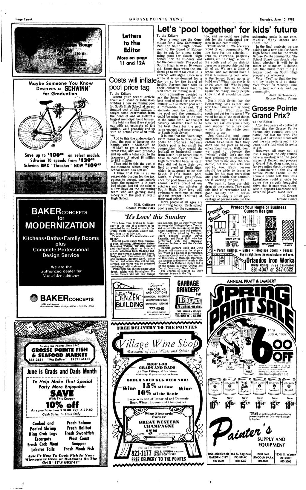 "Page Ten-A ------------ -- ---- - - - -- - -------""-'-"" - Save up to '100 00 on select models Schwinn 10 speeds from '139"" Schwinn 8M ""Thrasher"" NOW '109's BAKERcONCEPTS 19591 Mack Alleflue Grosse"