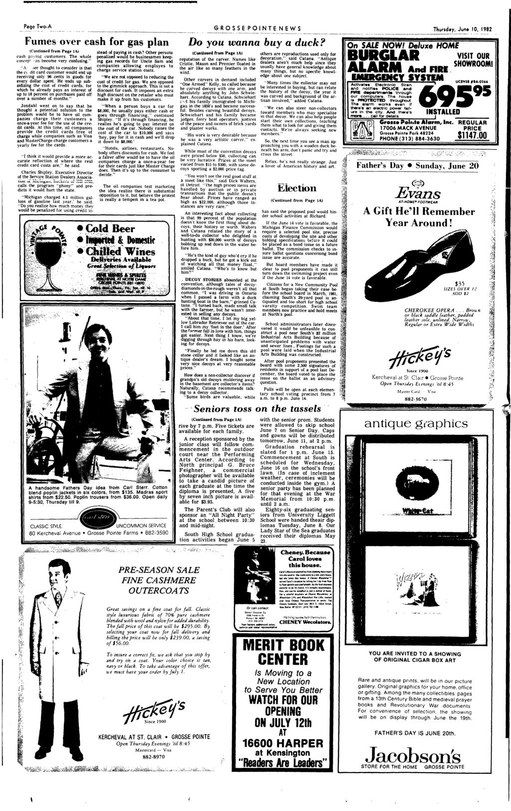 Page Two-A GROSSE PONTE NEWS Thursday June 10 1982 ----------- ------------ -- - - - -------- - ---------- ------ --------_ - --------- -------- - - ---------- ------ -_- Fumes over cash for gas plan