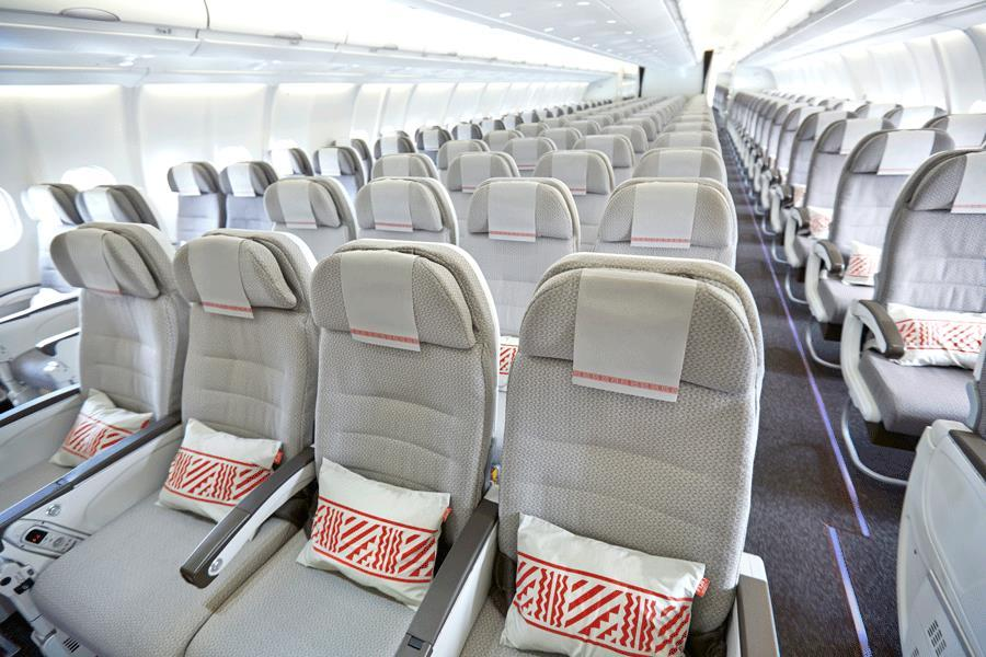 Features of Economy Class on flights to Fiji: Ergonomically designed seats with a 7.5 recline plus 1.