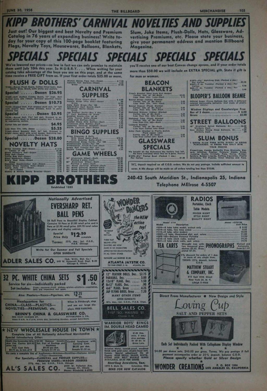 JUNE 30, 956 THE BLLBOARD MERCHANDSE 03 KPP BROTHERS' CARNVAL NOVELTES AND SUPPLES Just out! Our biggest and best Novelty and Premium Catalog in 76 years of expanding business!