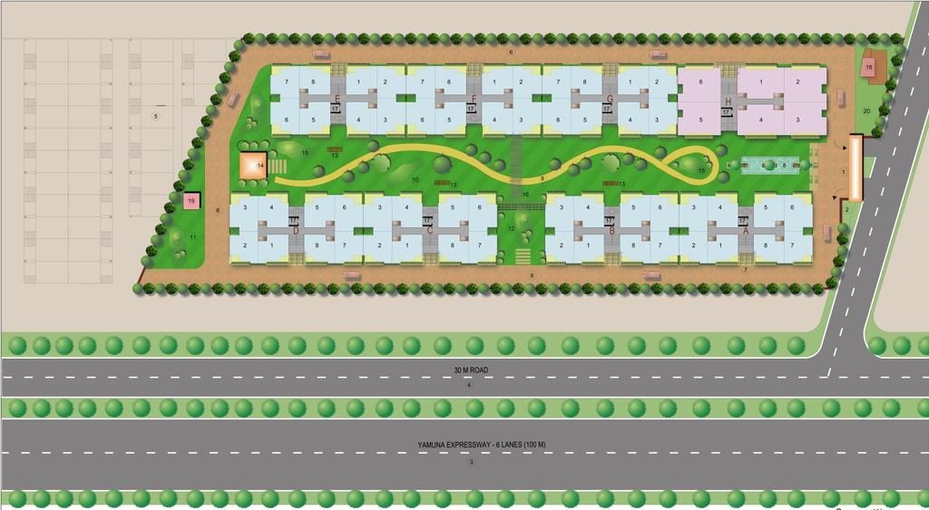 SITE LAYOUT NOT TO SCALE LEGEND 1 ENTRY-EXIT GATE 2 OUTSIDE REST AREA 3 YAMUNA EXPRESSWAY 4 SERVICE ROAD 30M.