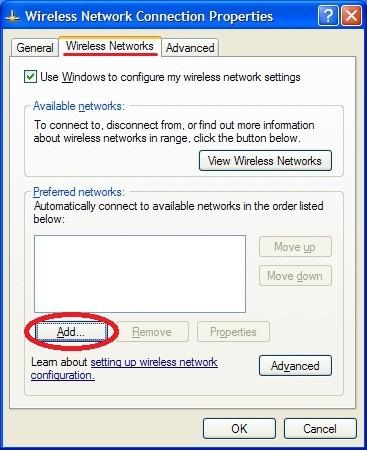 U okviru tab-a Wireless networks kliknite na dugme Add (kao na slici).