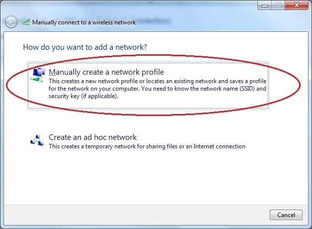 Kliknite na Manually create a network profile.