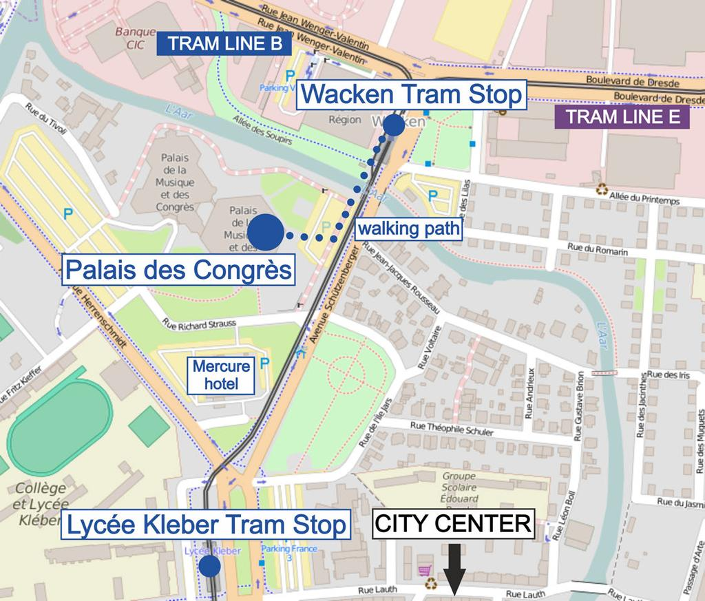 By plane: The main airport is in Entzheim. In order to get to Strasbourg, take the train from the airport to main station Strasbourg and from there, proceed by tram (see above).