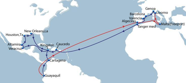 MED GULF Ecuador Mediterranean - Mexico, US Gulf and Caribbean Vessel Fleet 9 Ports of Call 16 Duration 63 Opening new link between West Med and Mexico, US Gulf and Caribbean.