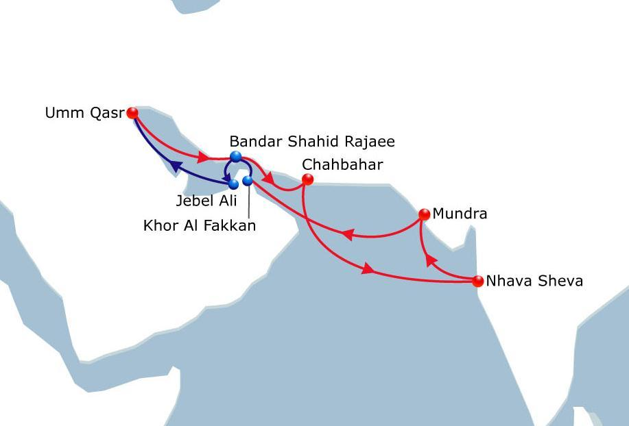 India Gulf Service India - Middle East Vessel Fleet 3 Ports of Call 8 Duration 21 New regional service INDIAGULF between North West Coast of India and Middle East Gulf.