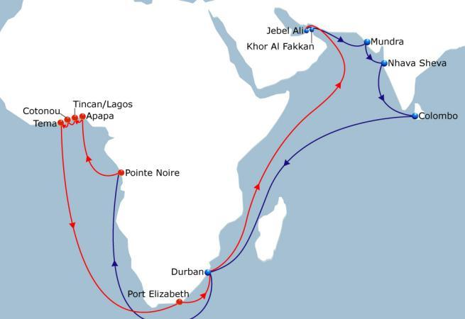 MIDAS LOOP 1 India - West Africa Vessel Fleet 10 Ports of Call 13 Duration 70 Lead product on the market with direct weekly service in Central and South range West African from India.