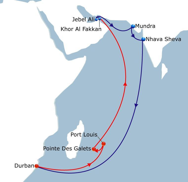 MIDAS LOOP 2 India - South Africa & Indian Ocean Island Vessel Fleet 6 Ports of Call 7 Duration 42 A very lean and fast service connecting India to South Africa and Indian Ocean markets Vessel