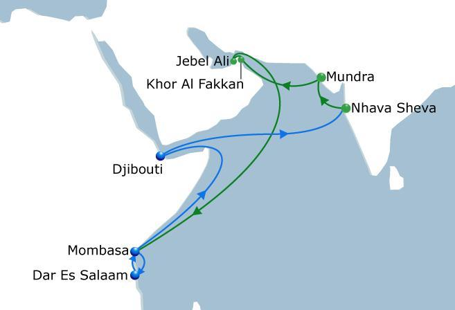 SWAHILI Express India - East Africa & Indian Ocean CMA-CGM dedicated relay service from Nhava Sheva and Mundra ports via Khor Al Fakkan in order to avoid congestion.