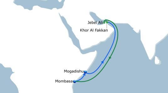 NOURA 1 India - East Africa Vessel Fleet 4 Ports of Call 4 Duration 28 Weekly direct service fully operated by CMA CGM with 4 vessels of 2200 TEU 2nd loop to Mombasa and direct service to Mogadishu